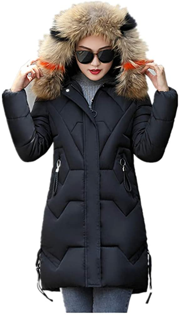 Dotoo Winter Women's Cotton Coat Long Fur Collar Fashion Slim Cotton Jacket Coat