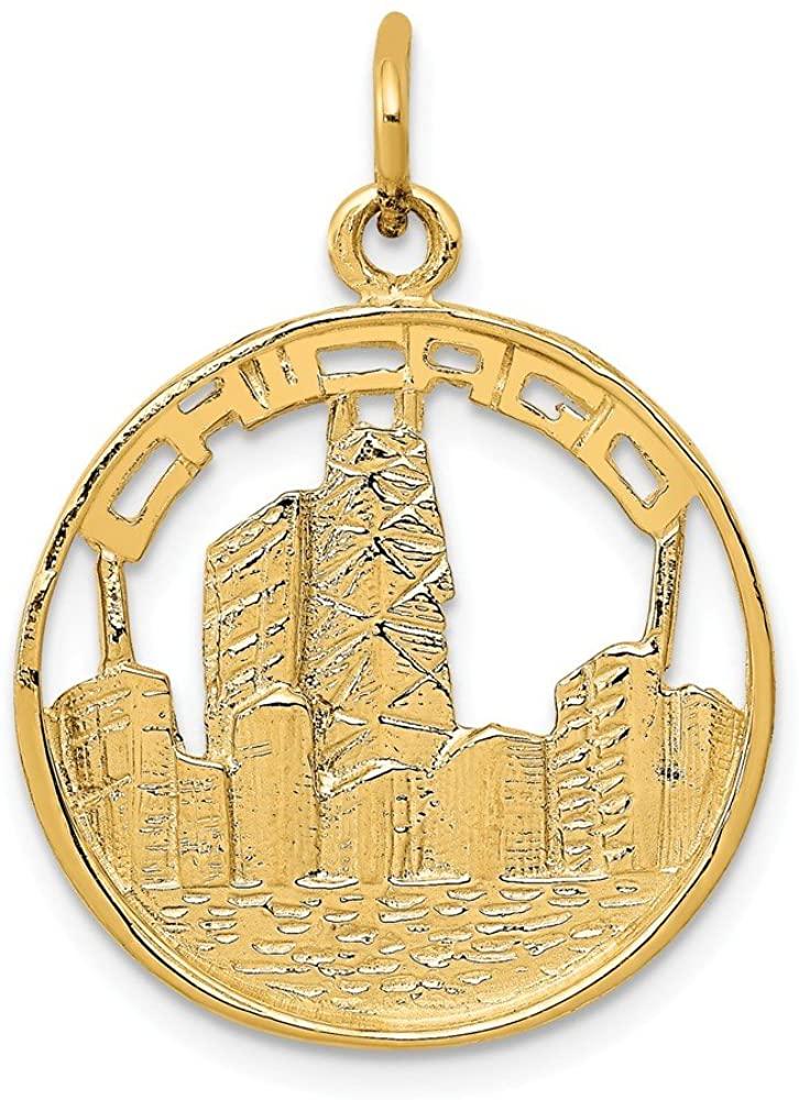 14k Yellow Gold Chicago Skyline Charm