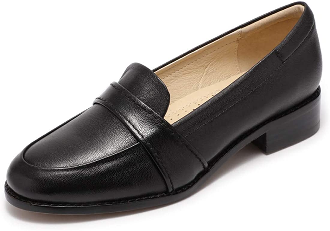 Mona flying Women's Leather Penny Loafers Slip On Flats Office Ladies Casual Shoes