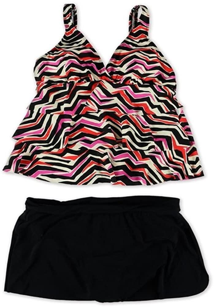 Magicsuit Womens Tiered Split Skirt 2 Piece Tankini