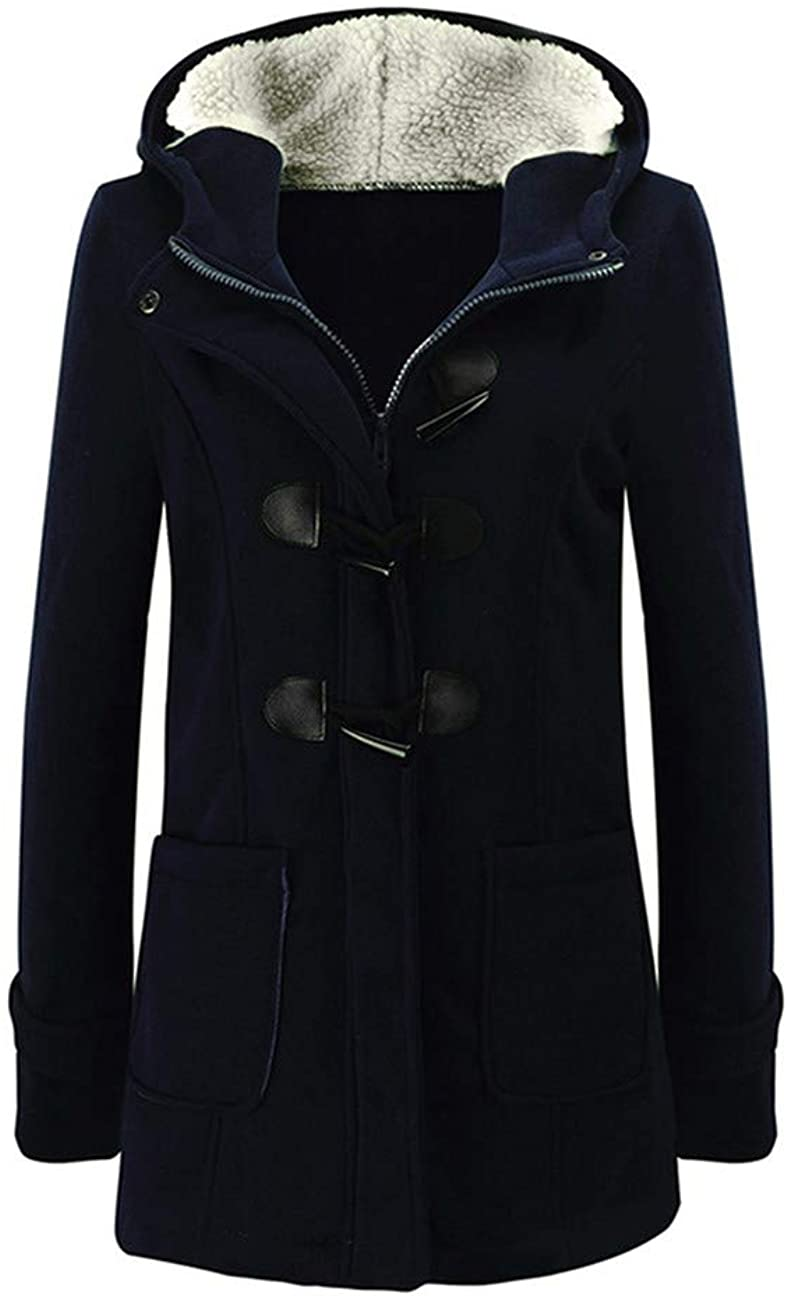 Fancy Dawn Winter Parka Coat Hooded Jacket Plus Size Warm Duffle Coat Buckle Zipper Front Outwear Female Overcoat