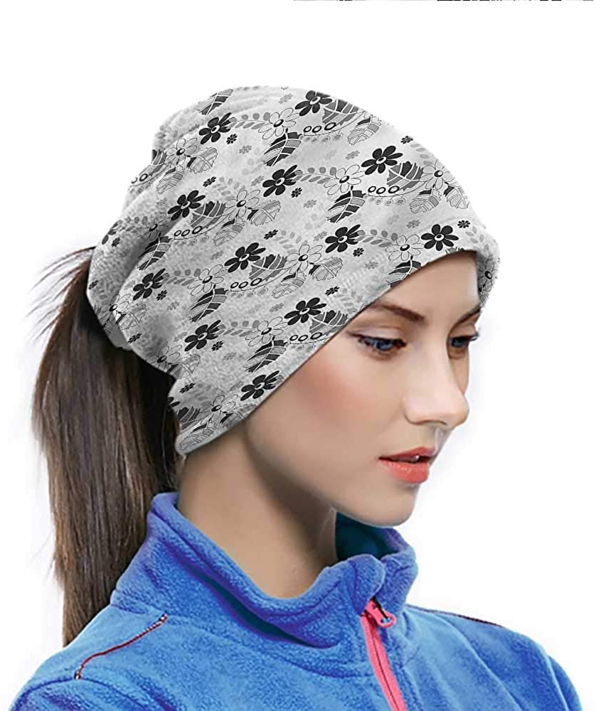 Bandana Grey, Floral Swirled Leaves Artwork Non Slip Face Scarf Protect Face Doesnt Get Burnt From The Sun 10 x 11.6 Inch