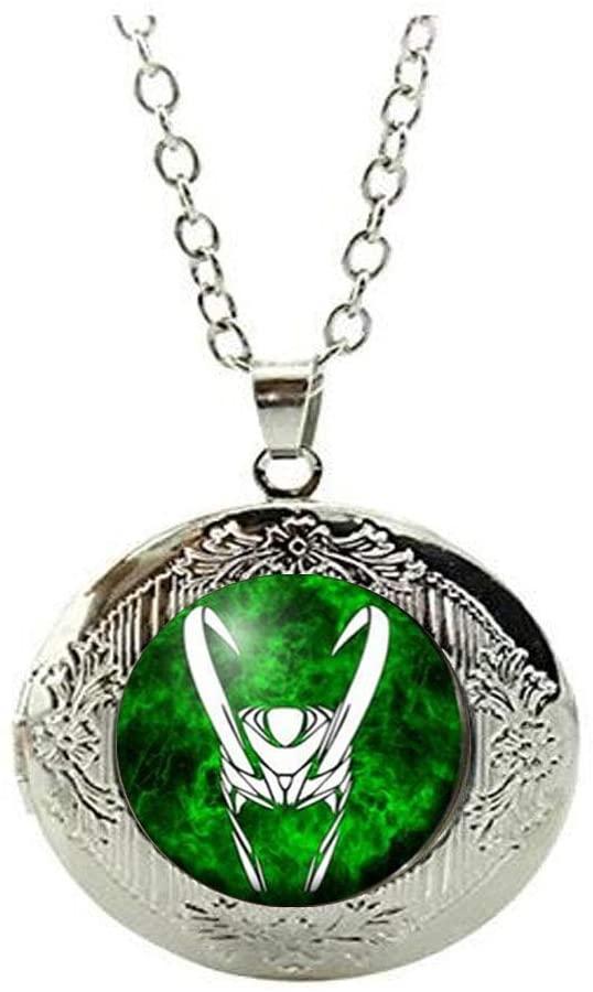 Handmade Loki Locket Necklace Glass Dome Locket Necklace Jewelry