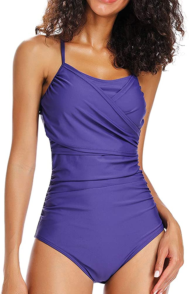 Dixperfect Women's Vintage One Piece Swimsuit Ruched Monokini Bathing Suit Lace Up Back