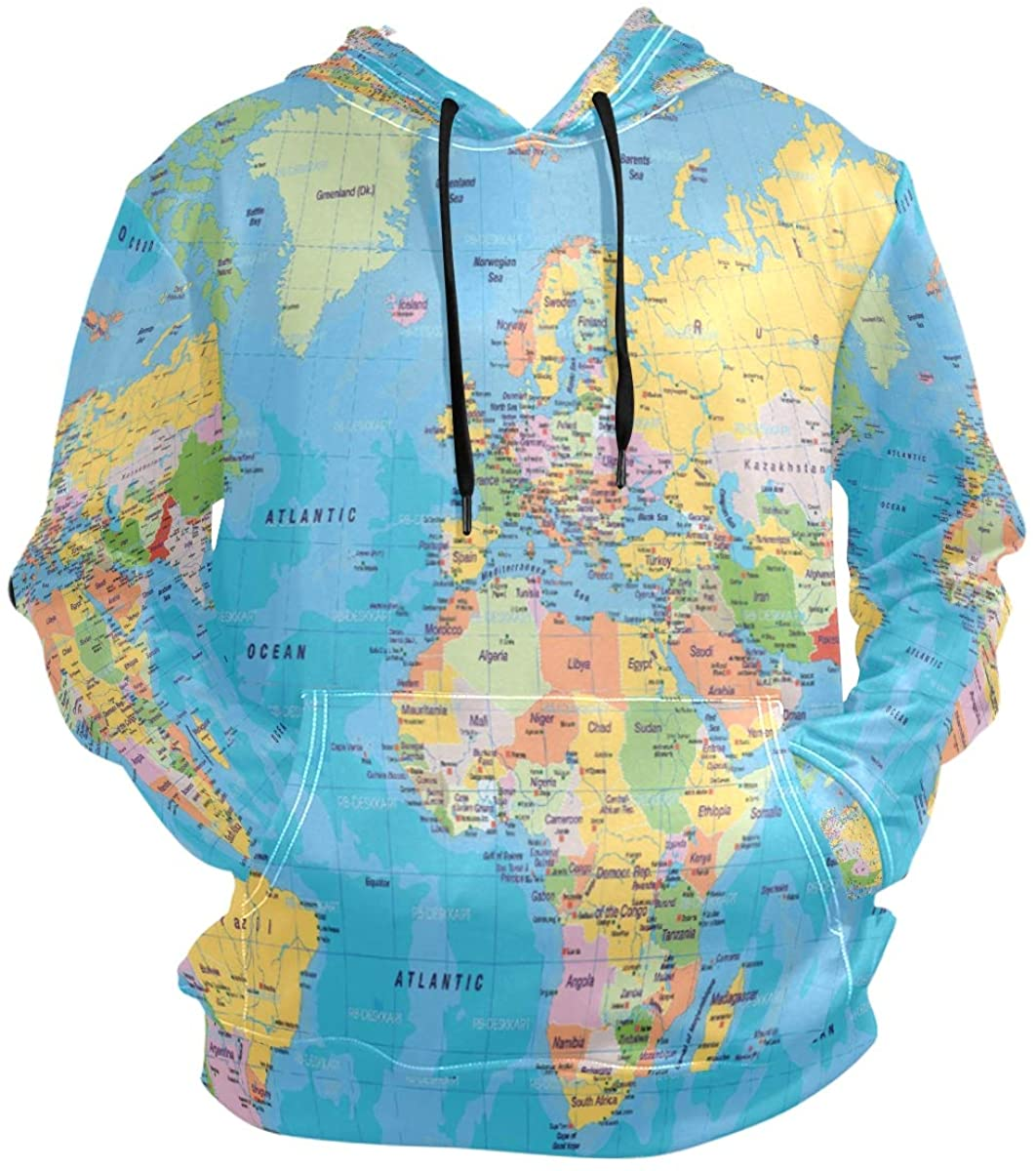 SLHFPX 3D Hoodie World Map Pullover Hooded Sweatshirts Long Sleeve Shirt