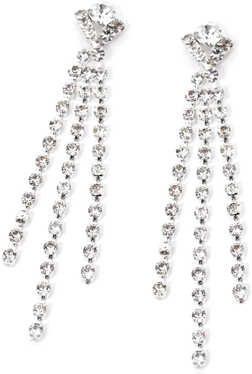 Silver Crystal Rhinestone Dangle Three Line Strand Earrings
