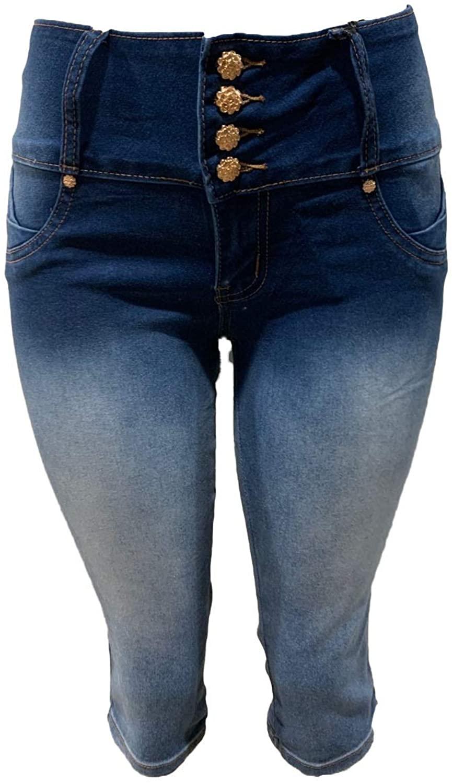 New Colombian Designed 1688 Medium Fade Blue Push up Stretch Capri Shorts