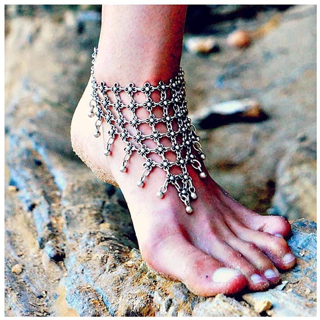 Yokawe Boho Ankle Bracelet Silver Beads Tassel Anklets Foot Chains Bohemian Summer Beach Hollow Flower Feet Accessories Jewelry for Women and Girls