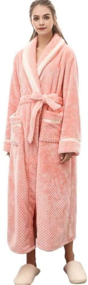 llwannr Bathrobe Robe Nightgown Sleep,Pajamas for Women Robe Warm Robe Couples Winter Lengthened Bathrobe Splicing Home Clothes Long Sleeved Robe Coat,Pink,XL
