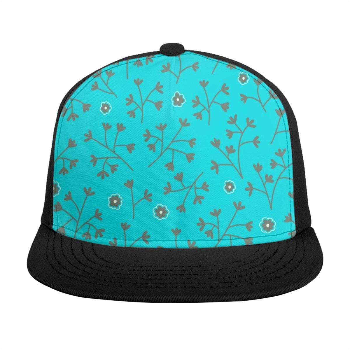 Baseball Cap Turquoise Blue Small Flowers Sun Visor Flat Brim Hats Cap for Women Men Summer