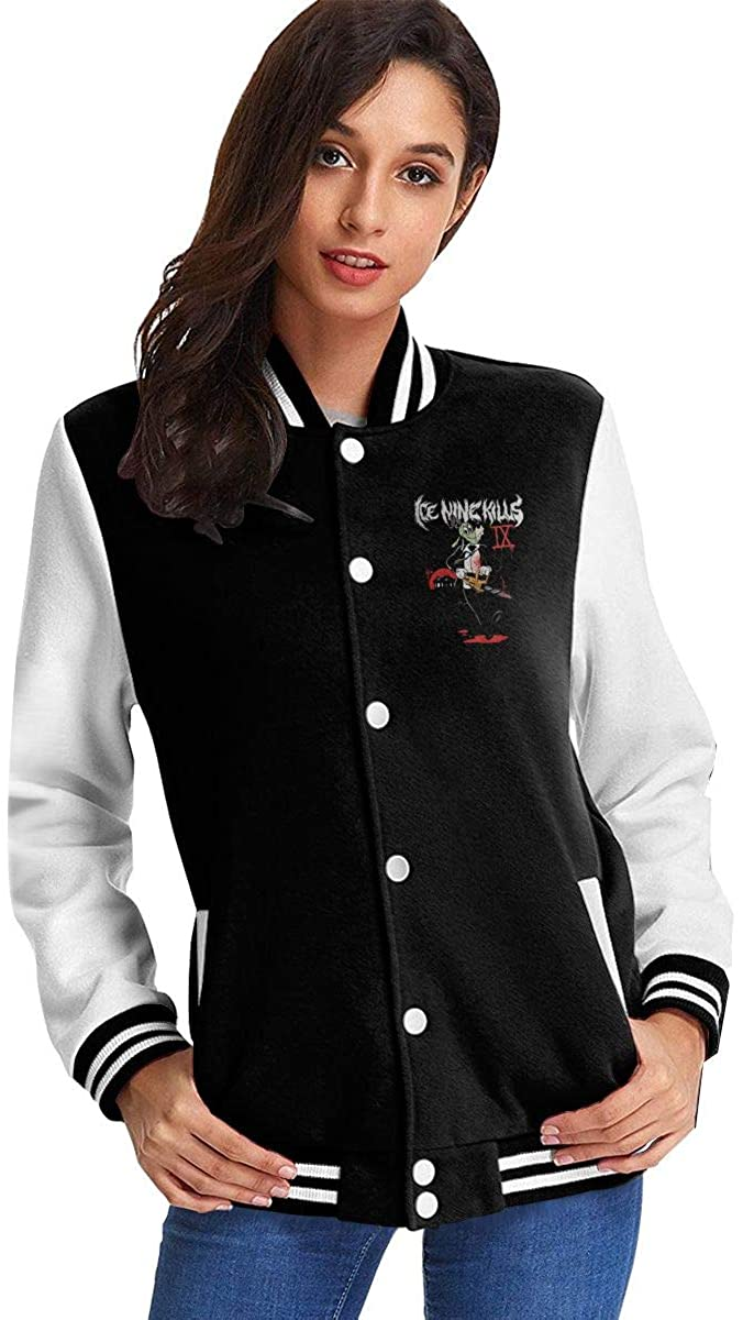 Ice Nine Kills Women's Fashion Stand Collar Casual Jacket Baseball Button Jacket Coat Sweater
