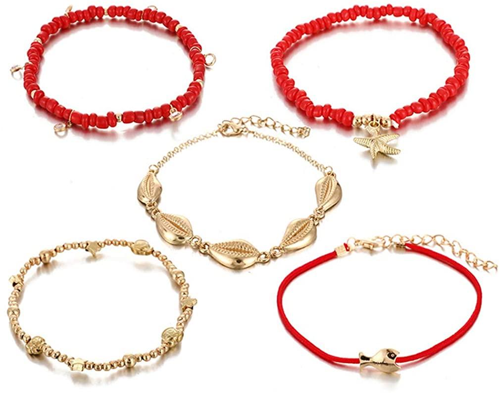 YAZILIND Rope Anklet Suit Fashion Shell Small Fish Starfish Bracelet Women Birthday Gift Jewelry(5pcs)