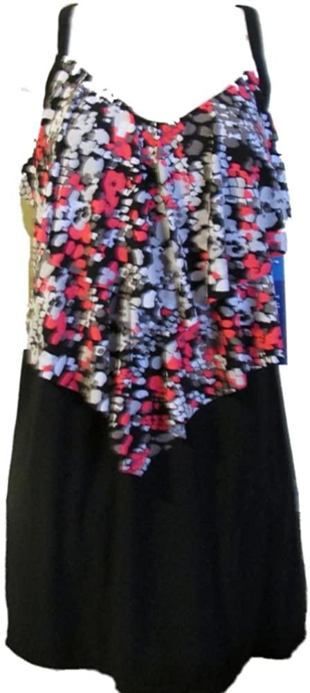 Magicsuit by Miraclesuit Women's Plus Size Swimdress Black Multi Color