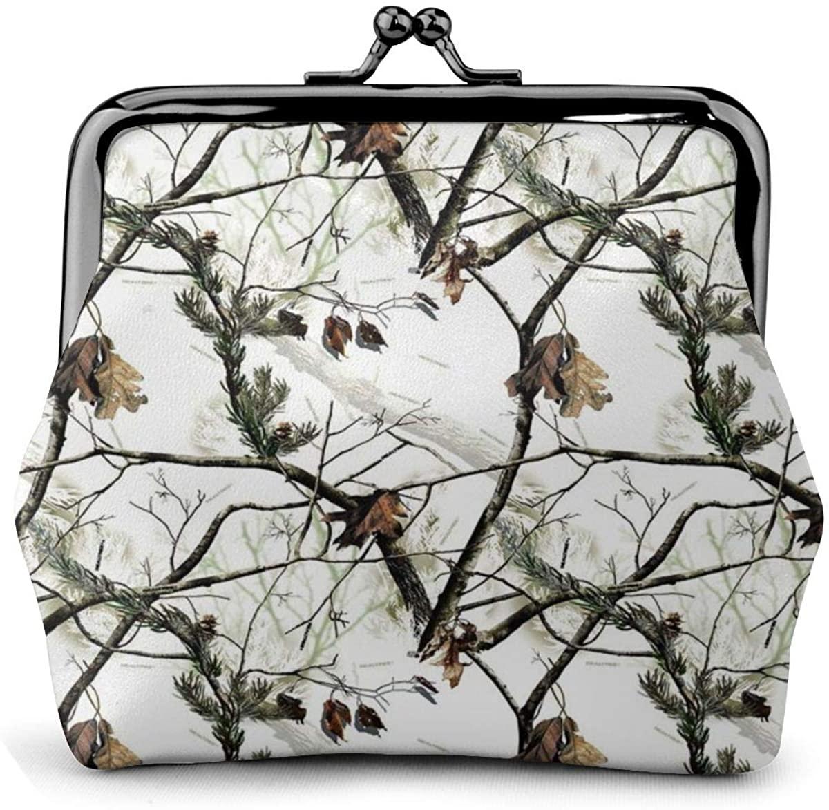 Women's Wallet White Realtree Camo Coin Purse Kiss-Lock Buckle Coin Pouch Mini Travel Cash Cards Bag