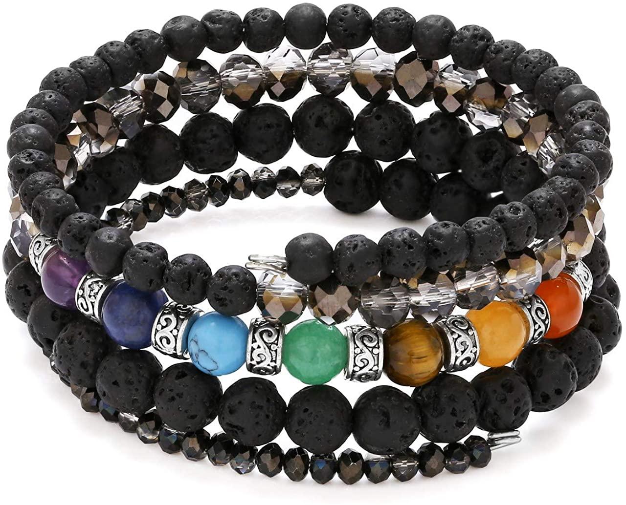 Top Plaza 7 Chakra Yoga Meditation Healing Crystal Beads Bracelet Multilayer Wrap Bracelets Bangle Reiki Quartz Jewelry for Womens