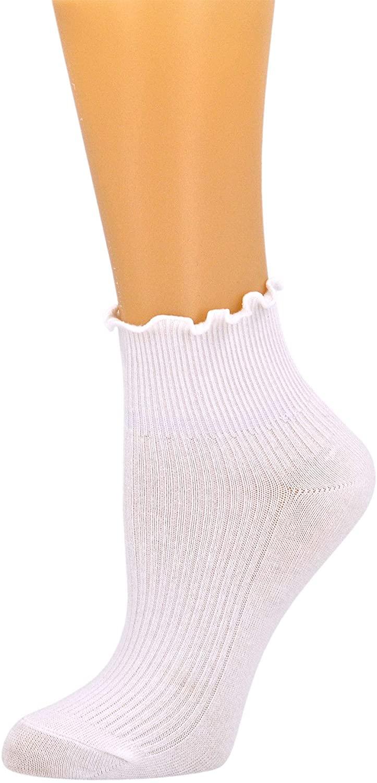 SEMOHOLLI Women Socks, Ruffle Turn-Cuff Ankle Crew Low Cut Casual Socks solid color Lace edge relent lady socks