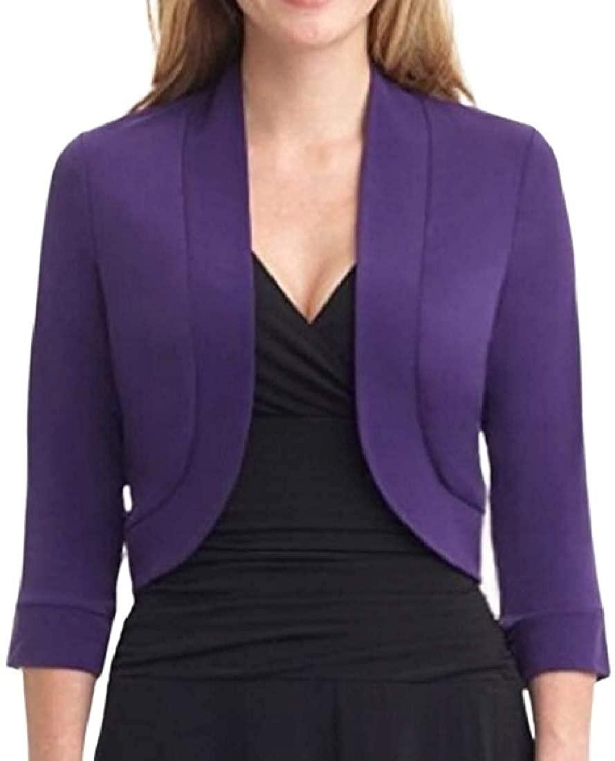 Women Bolero Shrug Open 3/4 Sleeve Fashion Cropped Front Cardigan