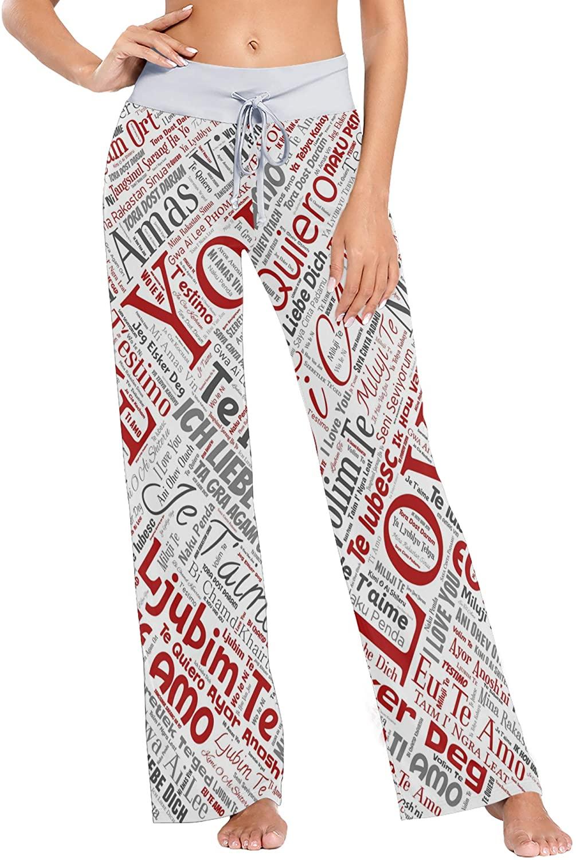 Sweet Romantic Love You Print Womens Sleepwear Loose Palazzo Casual Drawstring Yoga Pants