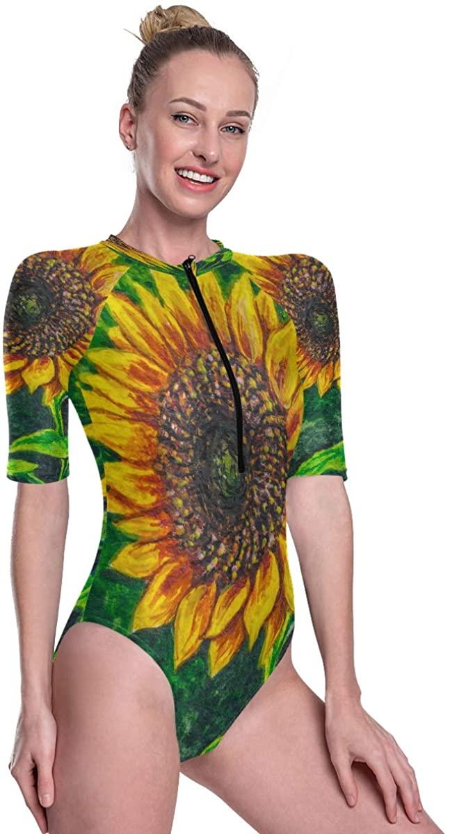 Women's One Piece Short Sleeve Rashguard Surf Swimsuit Sunflower with Seeds On The Farm Bikini