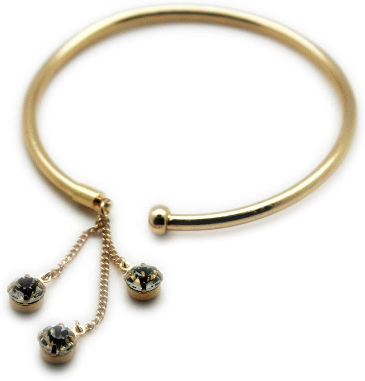 TFJ Women Fashion Jewelry Metal High Arm Cuff Bracelet Wrap Around Gold Chains Fringes Beads