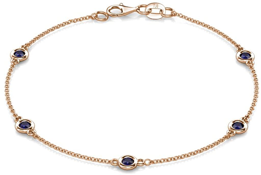 TriJewels Petite Blue Sapphire by the Yard 5 Station Bracelet 0.53 cttw in 14K Gold