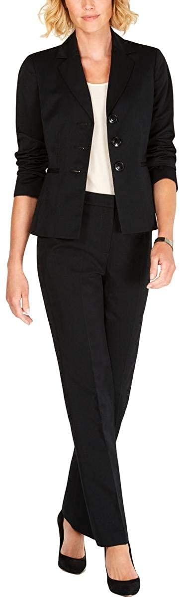 Le Suit Three-Button Peak Lapel Stripe Pants Suit Black/Blue 6