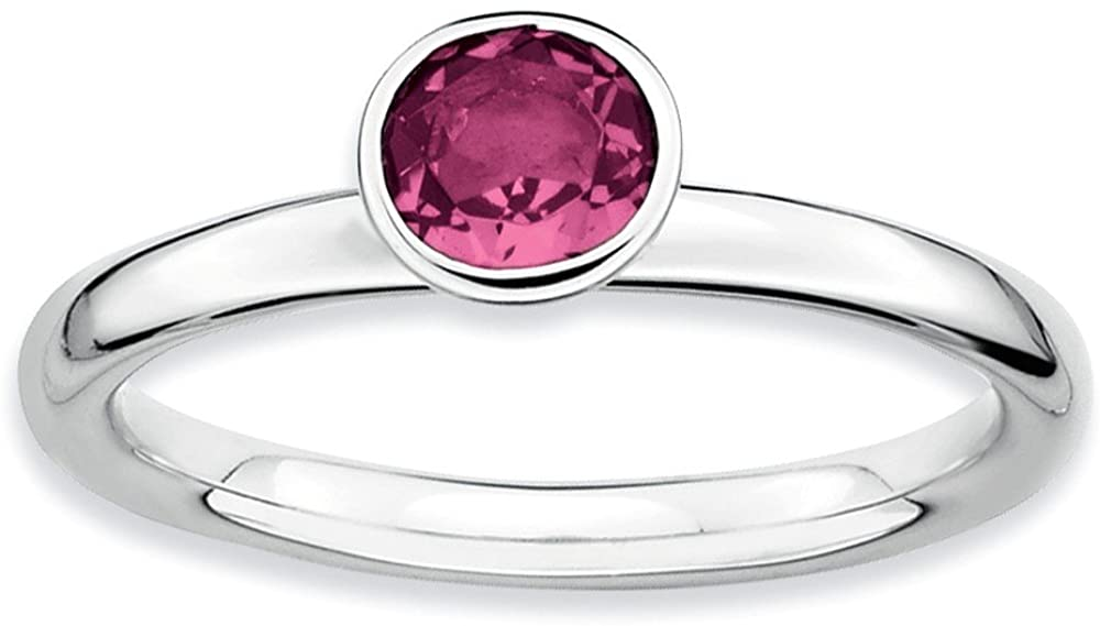 Beautiful Sterling silver 925 sterling SSr Stackable Expressions High 5mm Round Pink Tourmaline Ring