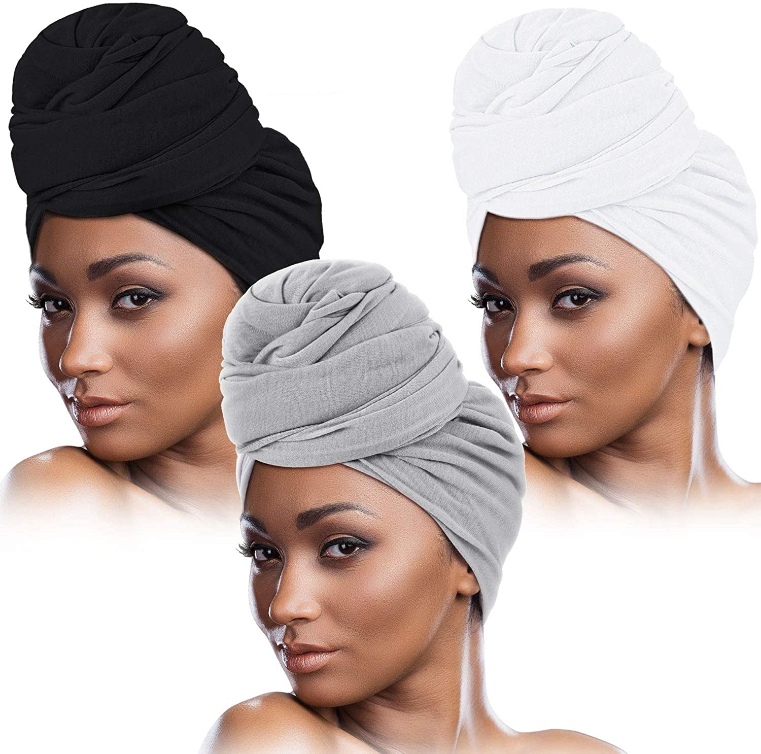 3 Pieces Women Stretch Head Wrap Scarf Stretchy Turban Long Hair Scarf Wrap Solid Color Soft Head Band Tie (Black, Gray, White)