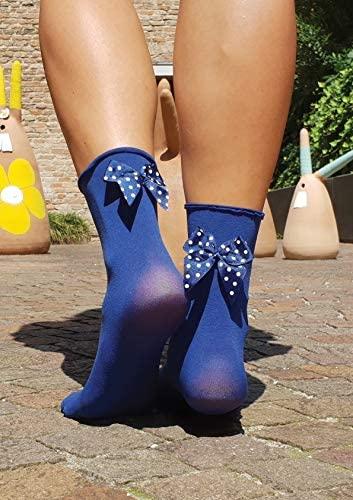 KATJA microfiber socks with a bow, blue