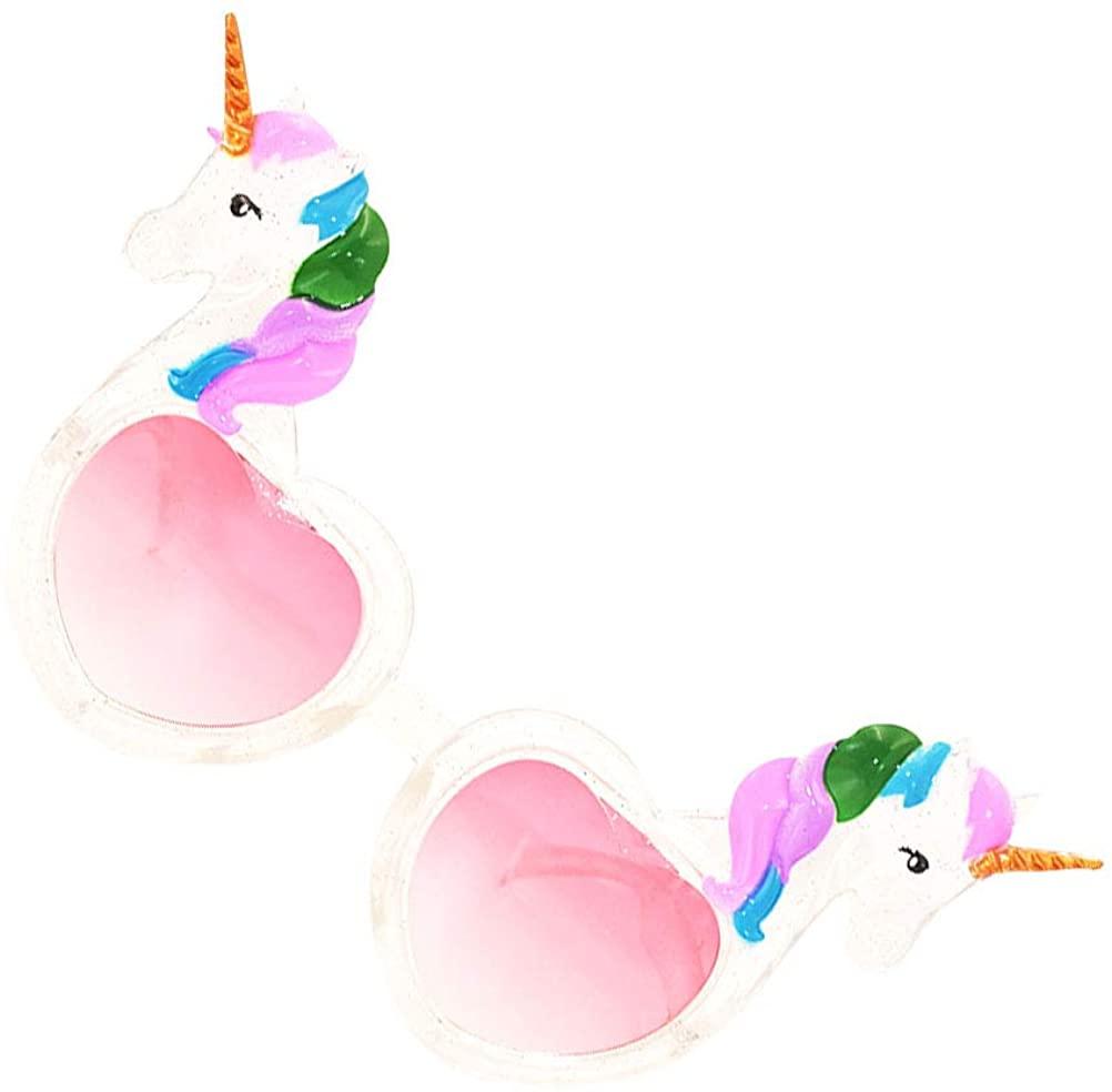 PTS 2 Pcs Unicorn Eyeglasses Creative Heart Glasses Funny Photo Pros for Women Ladies