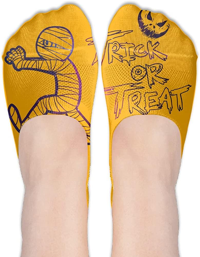 Yoigng No Show Socks Trick Or Treat Womens Classic Low Cut Ankle Tube Liner Non Slip Flat Boat Socks