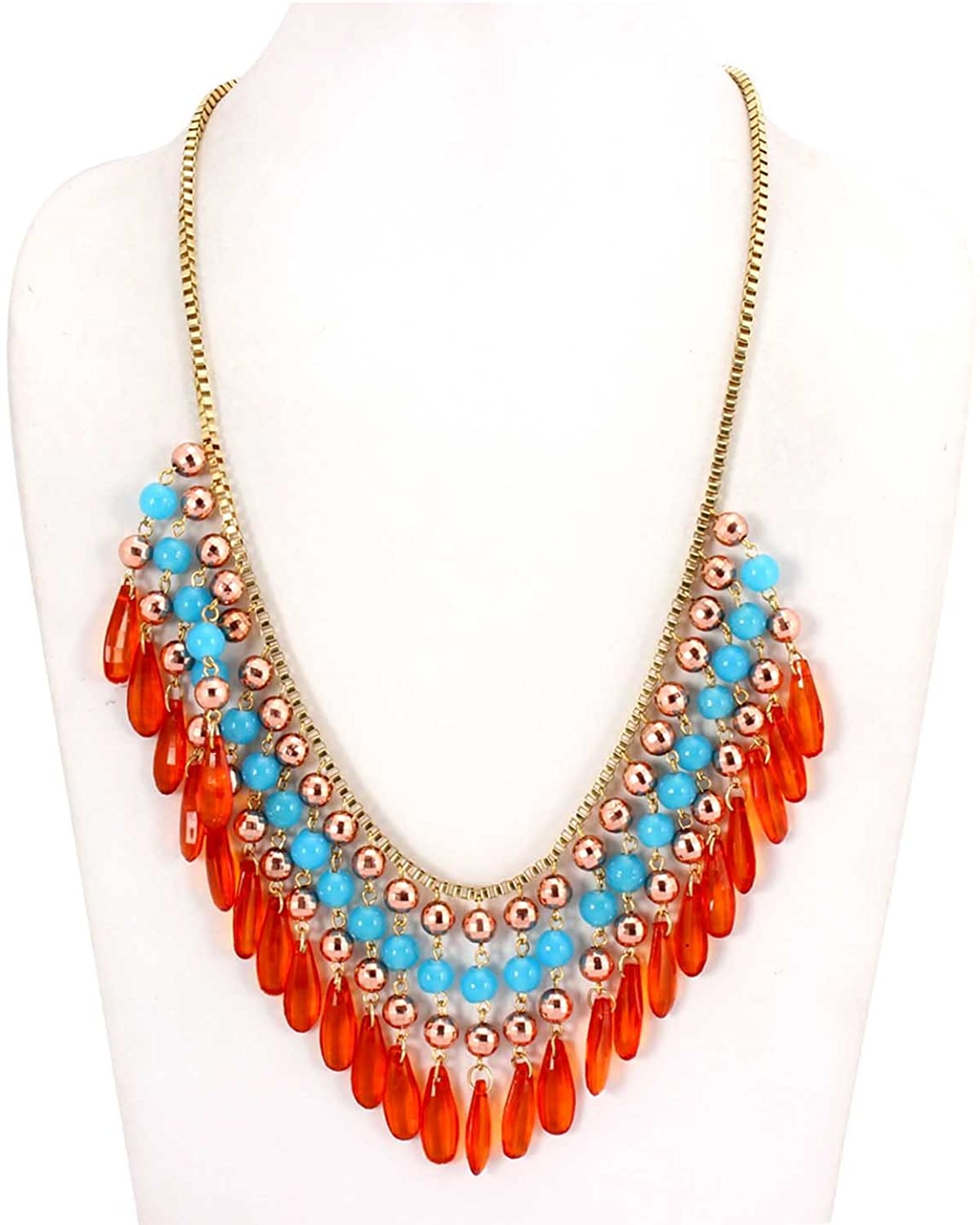 ChicKraft Layered Bead Statement Metal Glass Resin Strand Necklace