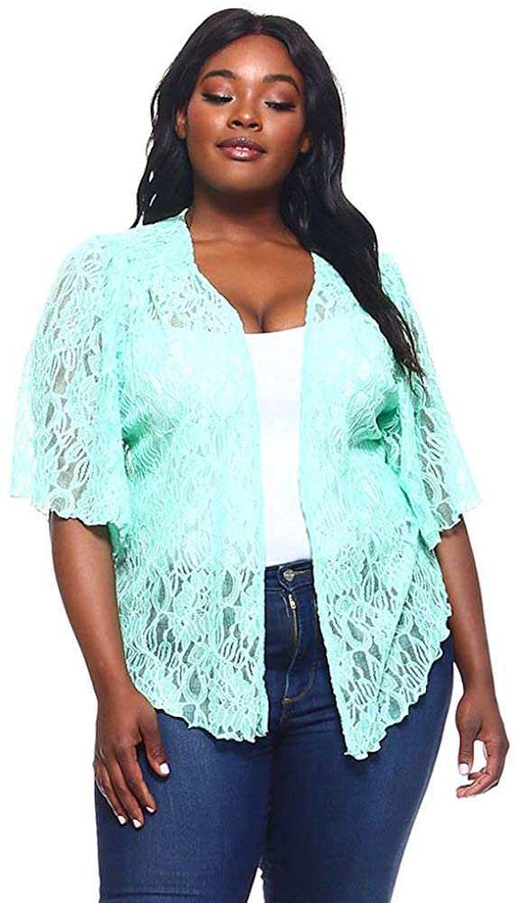 Women's Jade Green Plus Size Cascading Soft Lace Bolero Cardigan Shrug Top