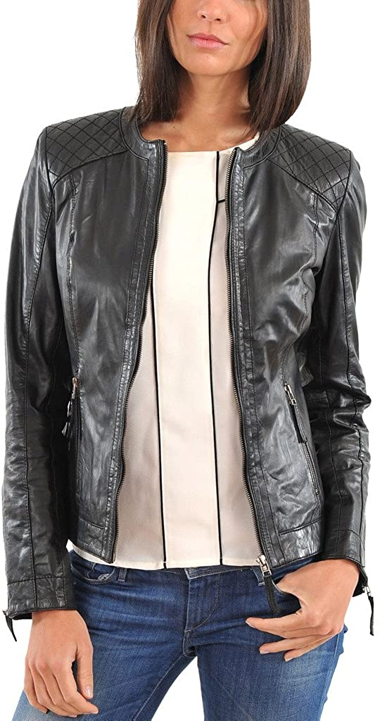 New Women Leather Jacket Soft Lambskin Motorcycle Bomber Party Jacket LTW172