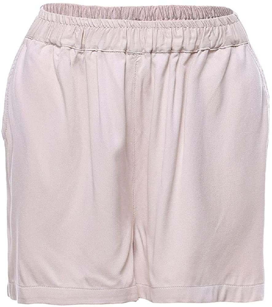 CHARTOU Womens Loose-Fit Elastic Waist Straight Leg Solid Pleated Beach Shorts