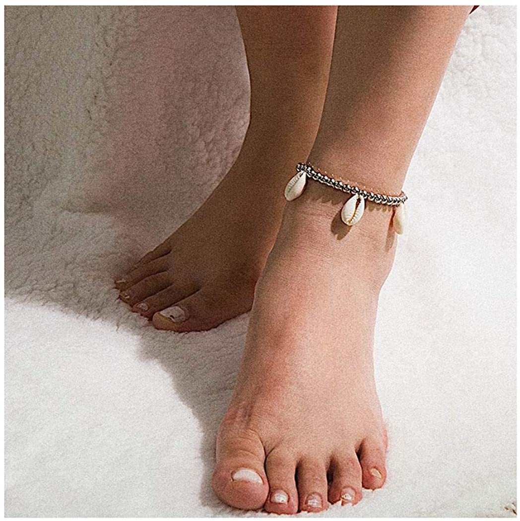 Drecode Boho Ankle Bracelets Silver Shell Pendant Bead Foot Chain Summer Sandbeach Party Anklet Feet Accessories Jewelry for Women and Girls
