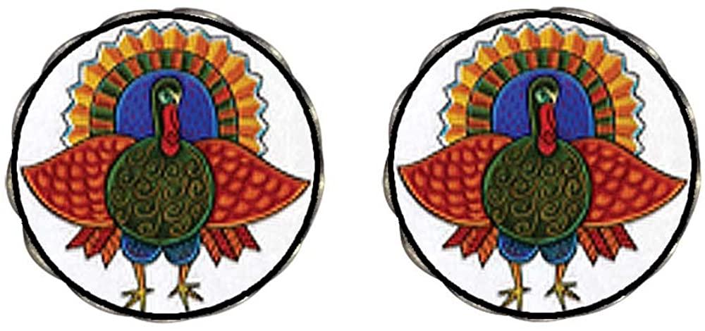 GiftJewelryShop Bronze Retro Style Folk Art Turkey Photo Clip On Earrings Flower Earrings 12mm Diameter
