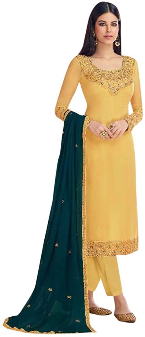 Pinkkart Indian Designer Georgette Embroidery Work Straight Pant Suit Salwar Kameez Office Casual Party Eid Women 9633