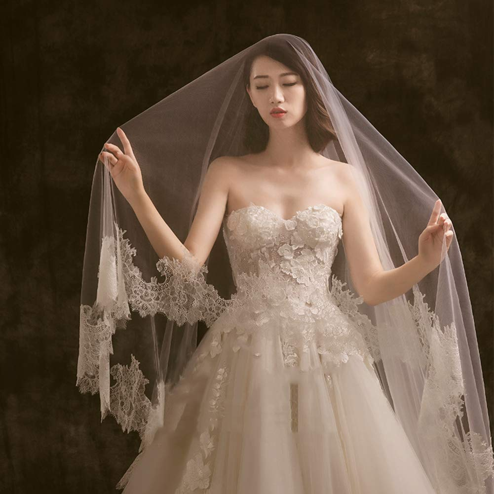 Bridal Wedding Veil,Champagne Wedding Bridal Veil Bride Hair Accessory Comb -A