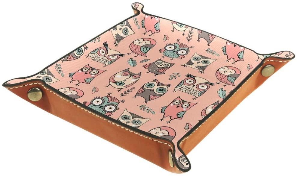Inhomer Owls Birds Hedgehog Leather Valet Tray Jewelry Tray Bedside Tray Desktop Storage Organizer for Coin Key