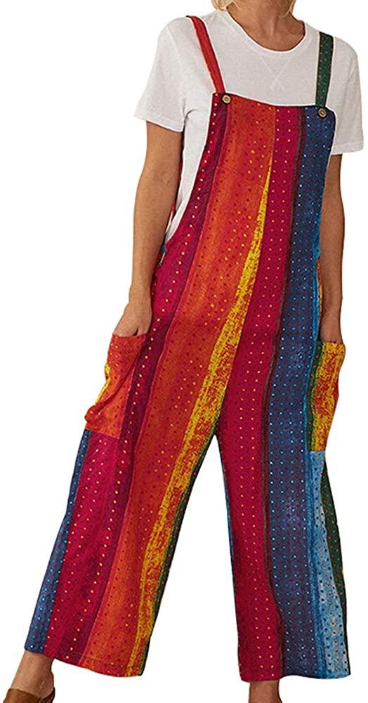 Women's Casual Overall Cotton Linen Button Strap Pants Jumpsuit Romper