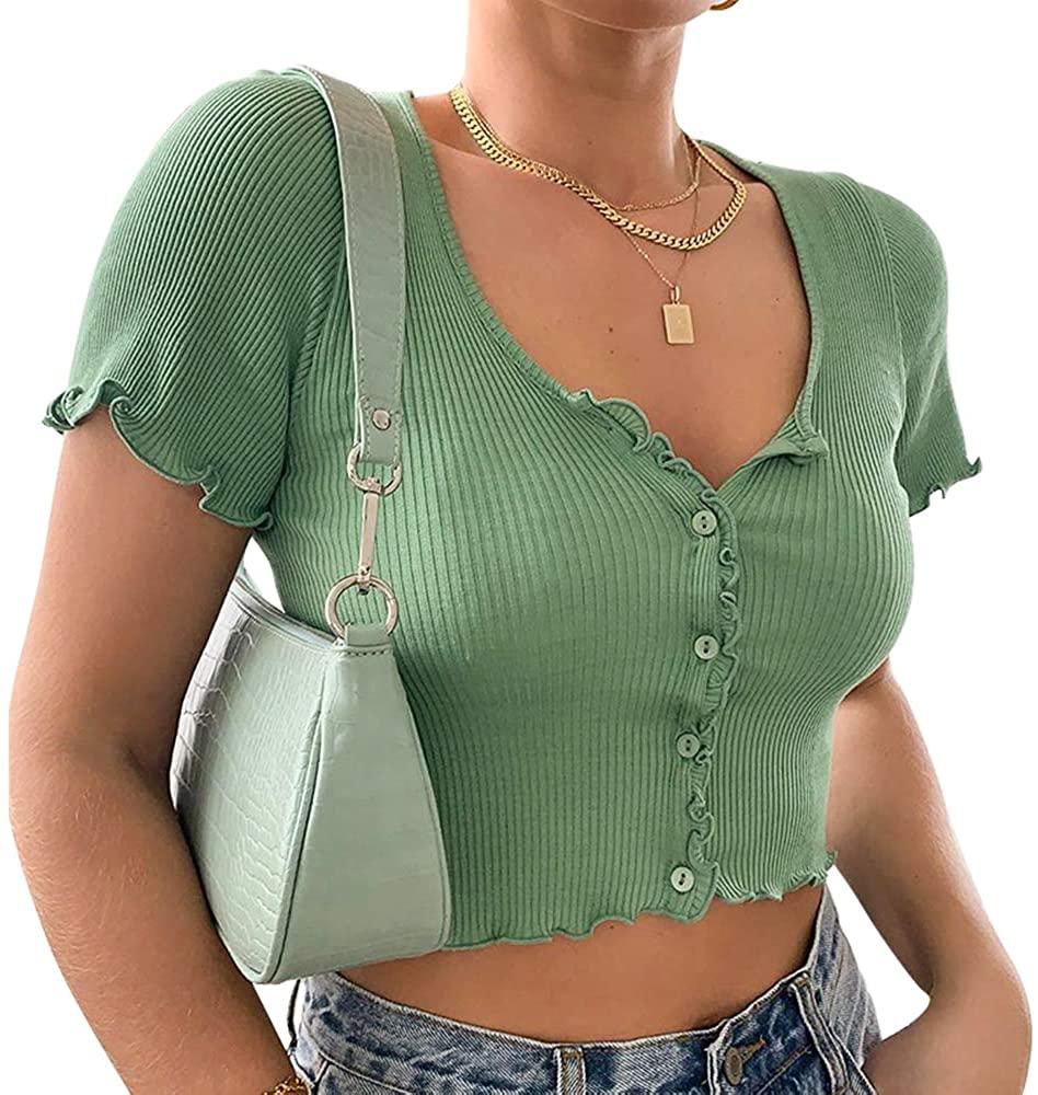 LSDSKD Women's Scoop Neck Crop Top,Ruffle Short Sleeve Button Casual T-Shirts Tops