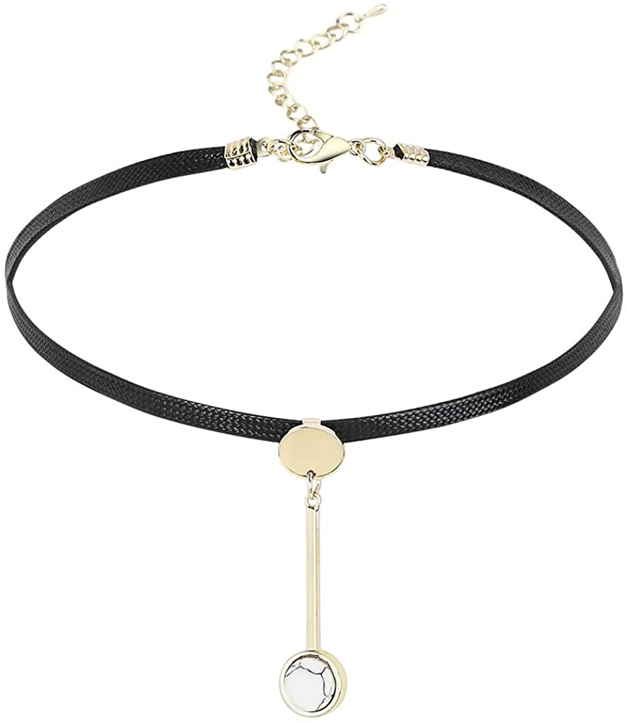 KnSam Women Stainless Steel Choker Necklaces Collar Round Pendulum Cord Multicolor [Novelty Necklace]