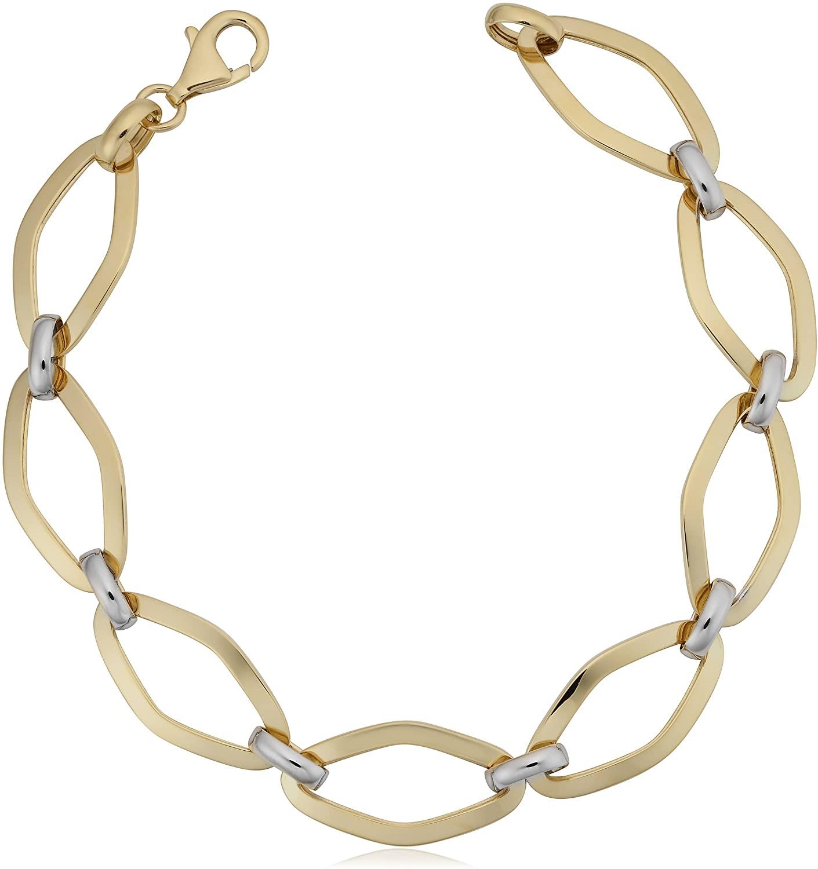 Kooljewelry 14k Two-Tone Gold 11 mm High Polish Marquise Link Bracelet (7.75 inch)