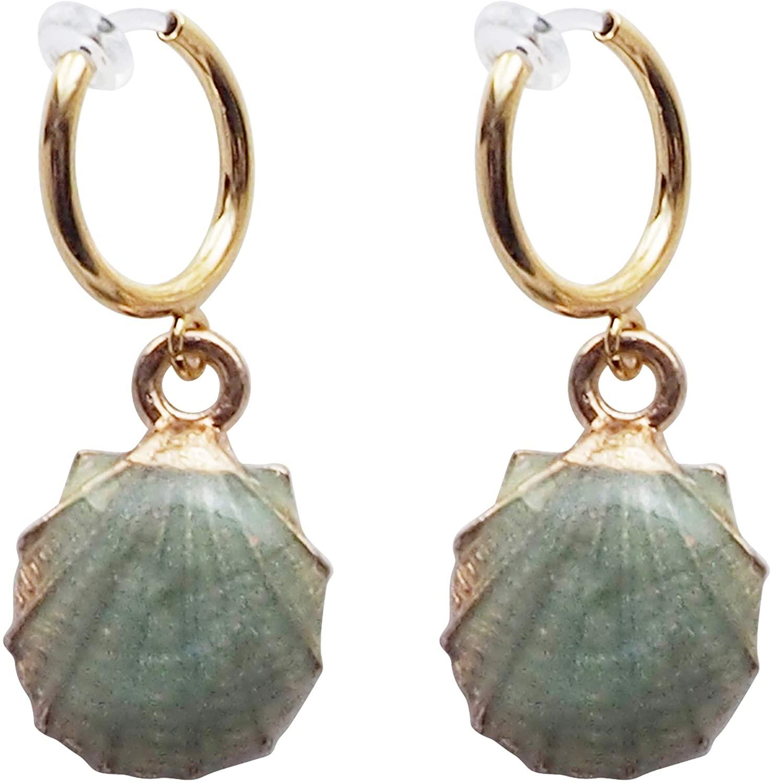 Miyabi Grace Mint Green Crystal Shell Dangle Invisible Resin Clip On Hoop Earrings Women Gold tone