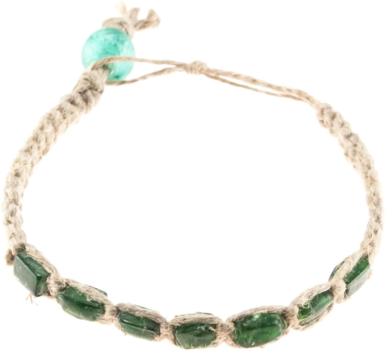 BlueRica Hemp Anklet Bracelet with Green 4mm Glass Beads