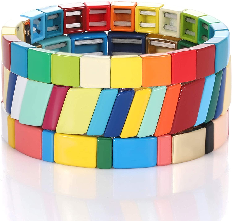 Enamel Tile Bracelet Colorful Tile Beaded Stretch Bracelet Stackable Color- Block Tile Strand Bracelet Set Bohemian Rainbow Brite Beads Bangle Bracelet for Women Girls