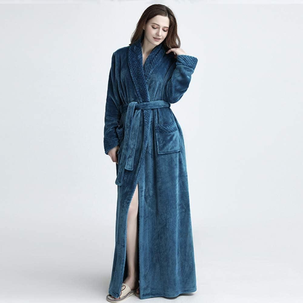 llwannr Winter Robe Nightgown Sleep,Lovers Winter Extra Long Plus Size Flannel Coral Warm Bathrobe Women Kimono Bath Robe Bridesmaid Sexy Dressing Gown,Women Blue,XL