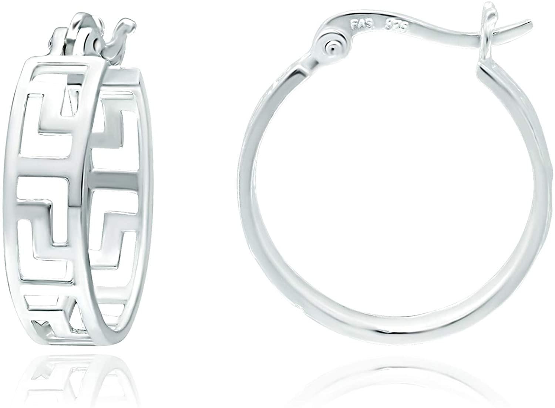 Sterling Silver Earrings for Women. Hoops Subtle Design for Casual Wear 0.82