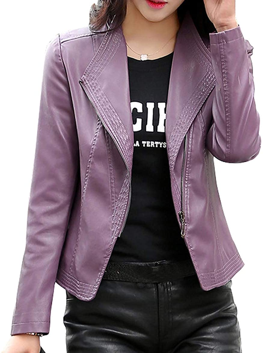 chouyatou Women's Casual Slant Zip Up Topstitching Moto Faux Leather Jacket Coat